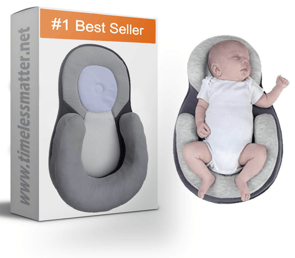 Portable Baby Bed Mattress Flat Head Prevention for 0-12 Month Babys Beige Baby Positioning Pillow