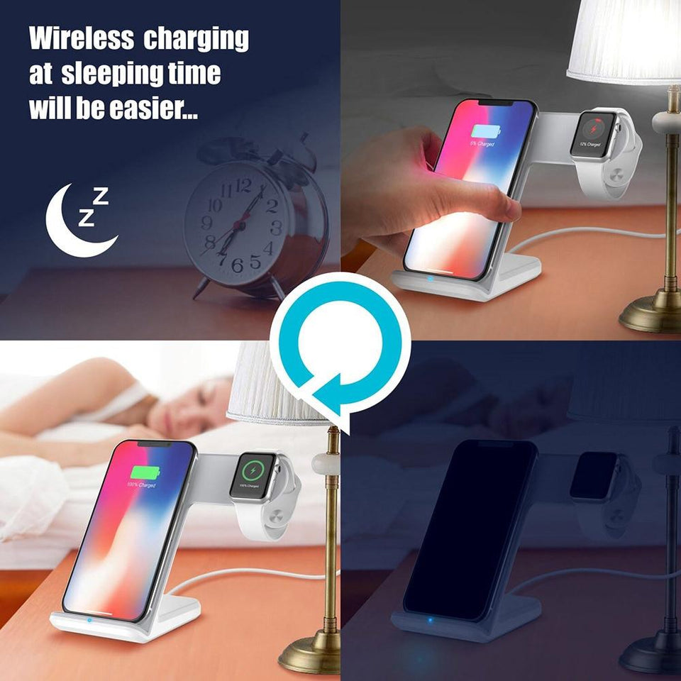 2 in 1 Wireless Charger Pad for iPhone 8 & Above And iWatch & Android | HUGE SALE For Today Only!