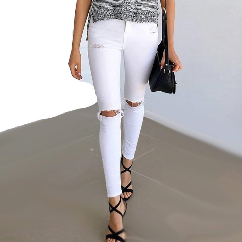 White Hole Skinny Ripped Jeans (WB111)