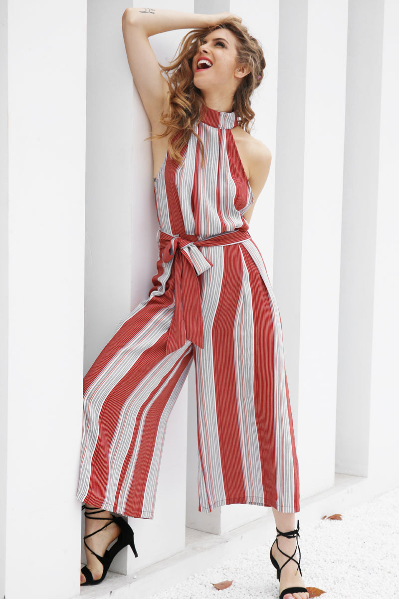 Strapless Halter Print Long Loose Jumpsuit (WJU09)