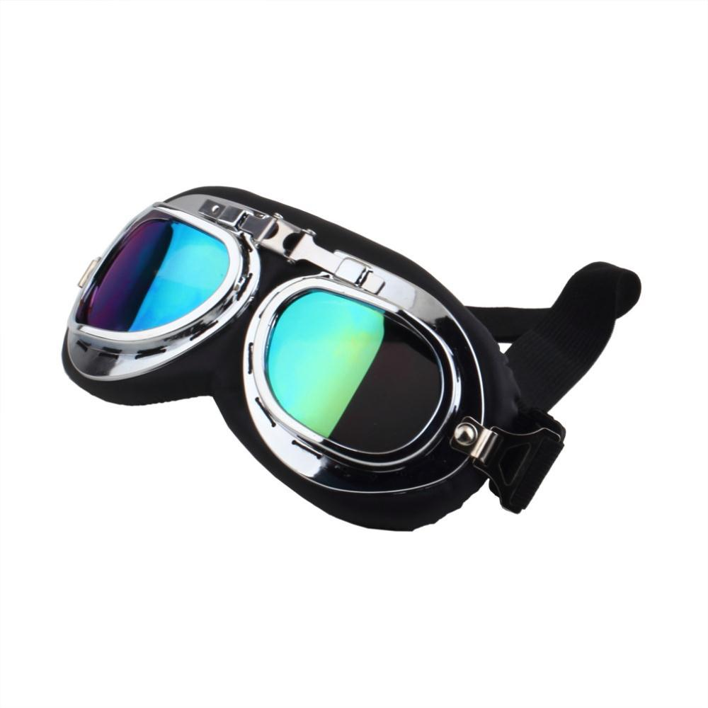 Silver-Rimmed Steampunk Motorcycle Goggle