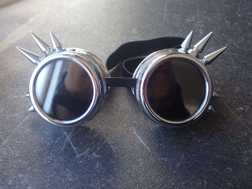 Spiked Silver Steampunk Goggles