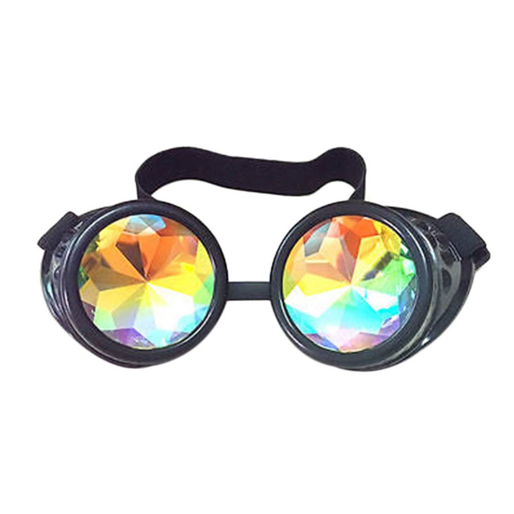Kaleidoscope Steampunk Goggles — Black, Silver, Red