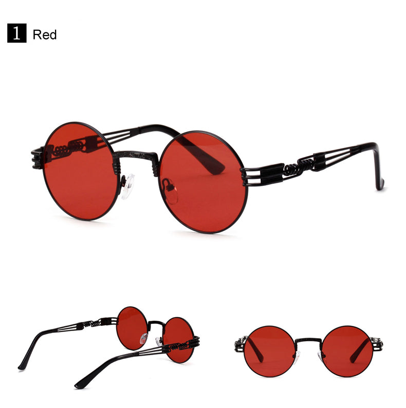 Retro Round Sunglasses With Steampunk Spring — 6 Colors
