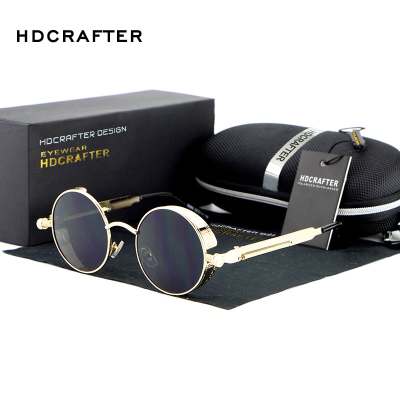 Round Metal Steampunk Sunglasses With Case