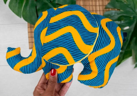 Soft elephant toy made of African wax print fabric