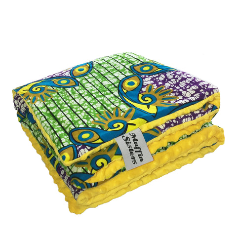 Abuk |  African ankara minky baby blanket & pillow set - Muffin Sisters