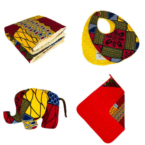 Sango | African ankara baby shower gift set | Baby blanket | Pillow | Towel | Bib | Soft toy - Muffin Sisters