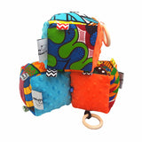 Blue & Orange Minky Sensory educational cube - Muffin Sisters