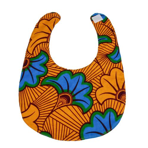 Blue Hibiscus | Baby bib with velcro fastening - Muffin Sisters