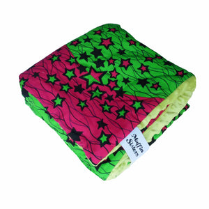 Green minky dot African baby blanket - Muffin Sisters