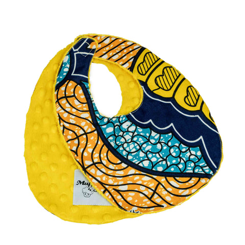 Amma | African ankara print baby bib with velcro fastening - Muffin Sisters