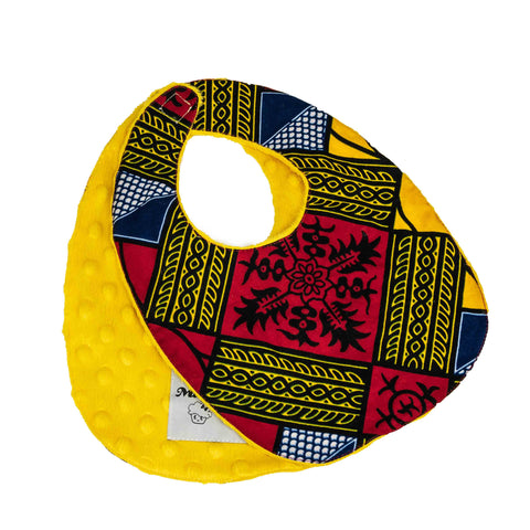 Sango | African ankara print baby bib with velcro fastening - Muffin Sisters