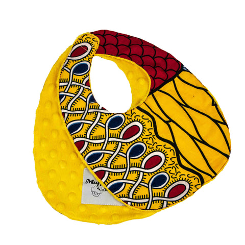 Sango I | African ankara print baby bib with velcro fastening - Muffin Sisters
