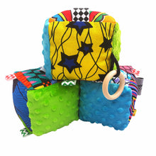 Load image into Gallery viewer, Blue & Green Minky Sensory educational cube - Muffin Sisters