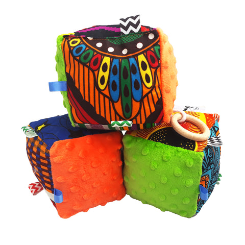Green & Orange Minky Sensory educational cube - Muffin Sisters