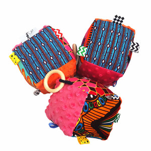 Pink & Orange Minky Sensory educational cube - Muffin Sisters