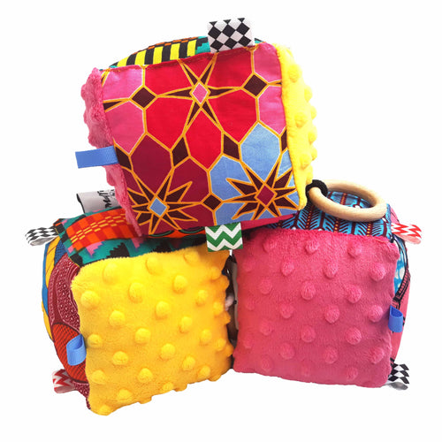 Pink & Yellow Minky Sensory educational cube - Muffin Sisters