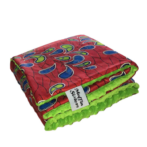 Green minky dot African baby blanket & pillow set - Muffin Sisters