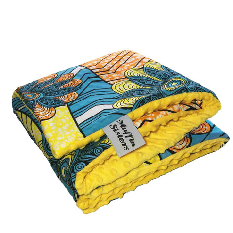 Imana |  African ankara minky baby blanket & pillow set - Muffin Sisters