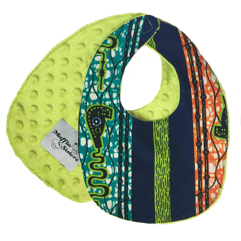 Shango | African ankara print baby bib with velcro fastening - Muffin Sisters