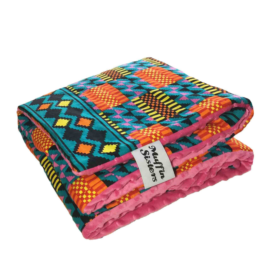 Pink minky dot African baby blanket & pillow set - Muffin Sisters