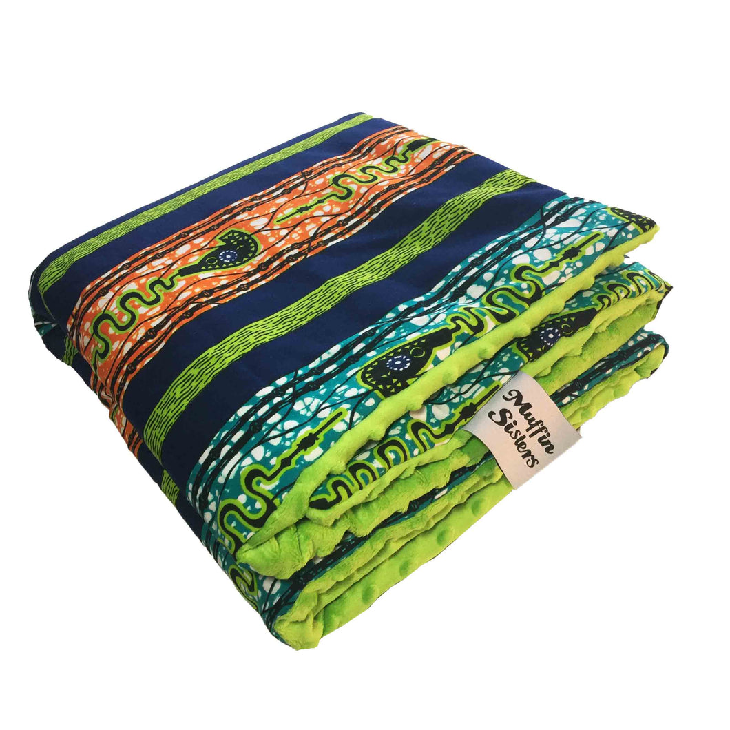 Shango |  African ankara minky baby blanket & pillow set - Muffin Sisters