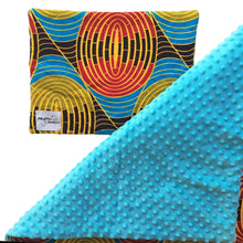 Load image into Gallery viewer, Blue minky dot African baby blanket & pillow set - Muffin Sisters