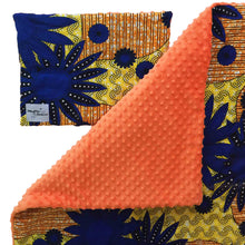 Load image into Gallery viewer, Orange minky dot African baby blanket & pillow set - Muffin Sisters