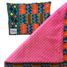 Load image into Gallery viewer, Pink minky dot African baby blanket & pillow set - Muffin Sisters