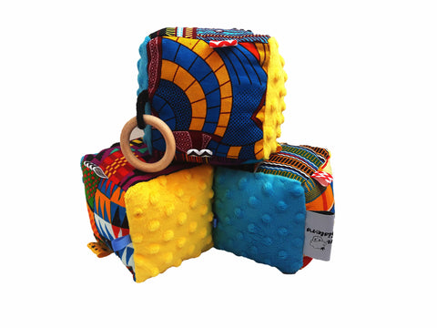 Blue & Yellow Minky Sensory educational cube - Muffin Sisters