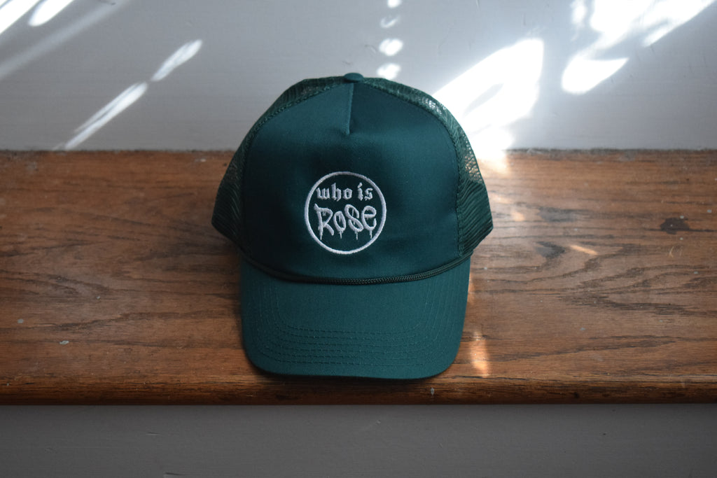 Dark Green Embroided Mesh Cap