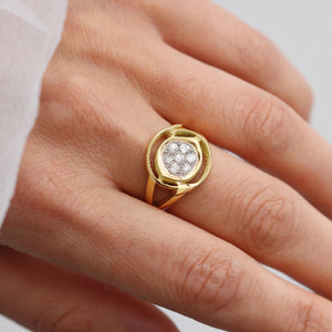 Orme-Brown Contemporary Fine Jewellery Ethical Cluster Engagement Wedding Eternity Ring Set in sustainable recycled 18ct yellow and white gold, old cut diamonds, knife edge (TipToe)