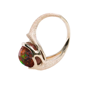 TipToe Jewellery Ethical Statement ring in sustainable 9ct yellow gold and a Mexican fire opal Cabochon