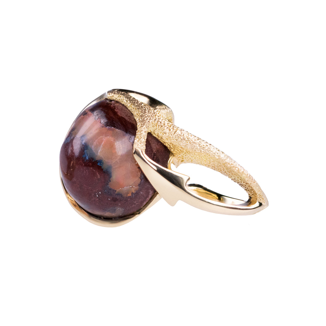 Orme-Brown Contemporary Fine Jewellery Ethical Statement Arrow ring in sustainable recycled 18ct yellow gold and a round Mexican fire opal cabochon (TipToe)