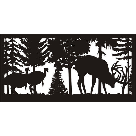 24 X 48 Two wild turkeys watching a buck rubbing his antlers - AJD Designs Homestore