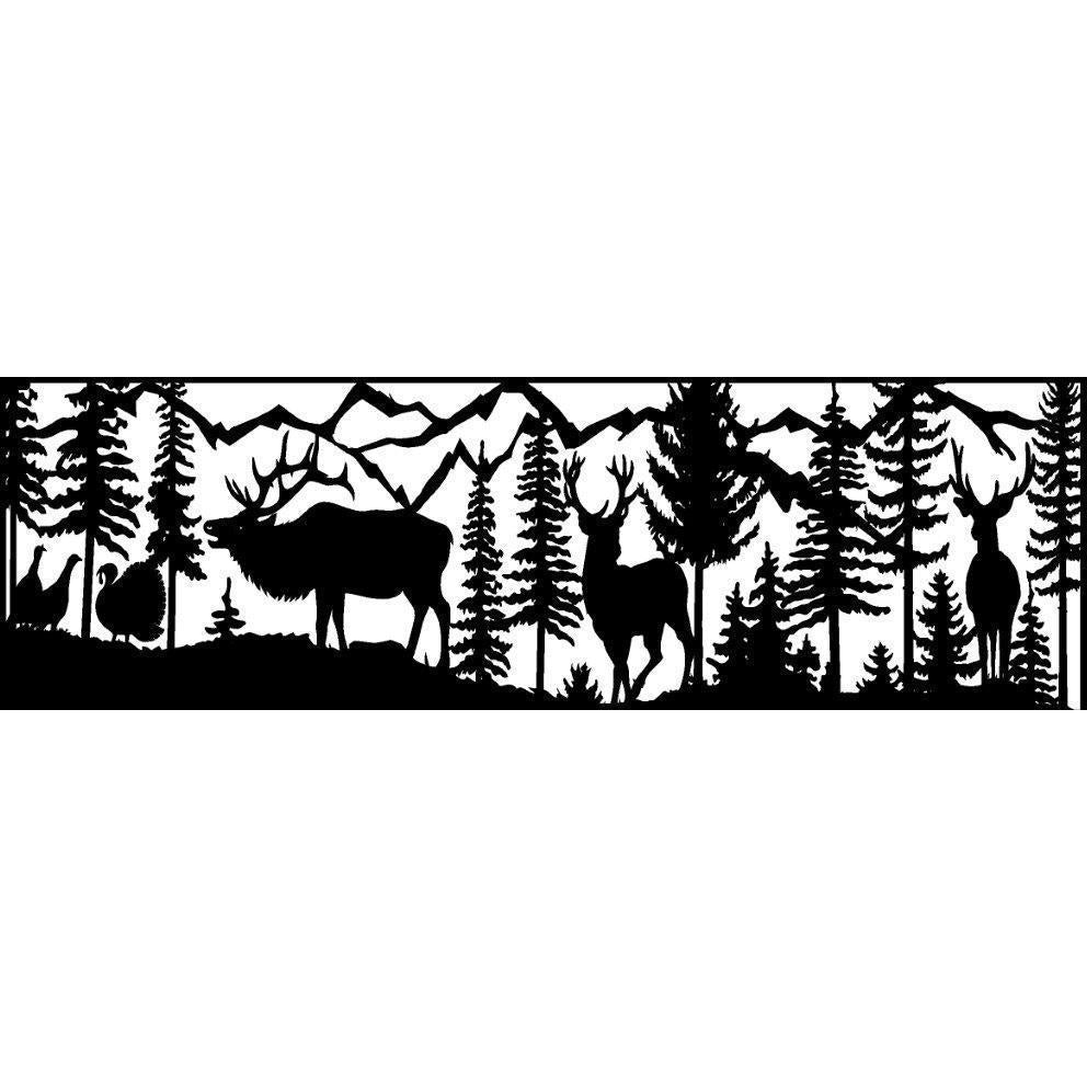 24 x 72 Two Bucks Elk Turkeys Mountains - AJD Designs Homestore