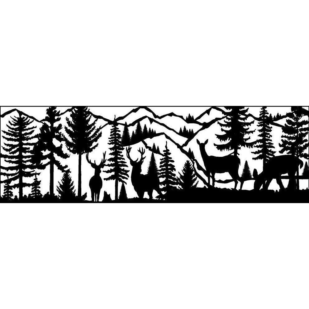 24 X 72 Two Bucks Two Does River Mountains - AJD Designs Homestore
