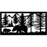 24 X 48 Bear her cub and mountains in the background - AJD Designs Homestore