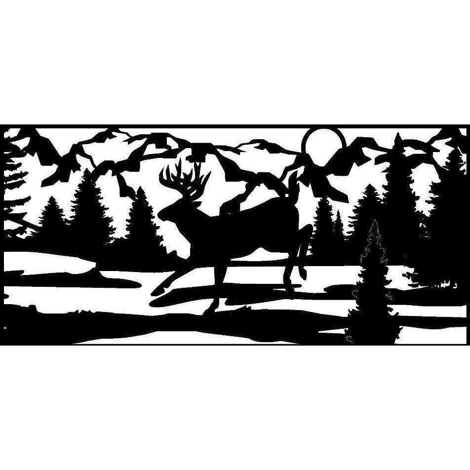 24 X 48  Low Land Deer Water Mountains - AJD Designs Homestore