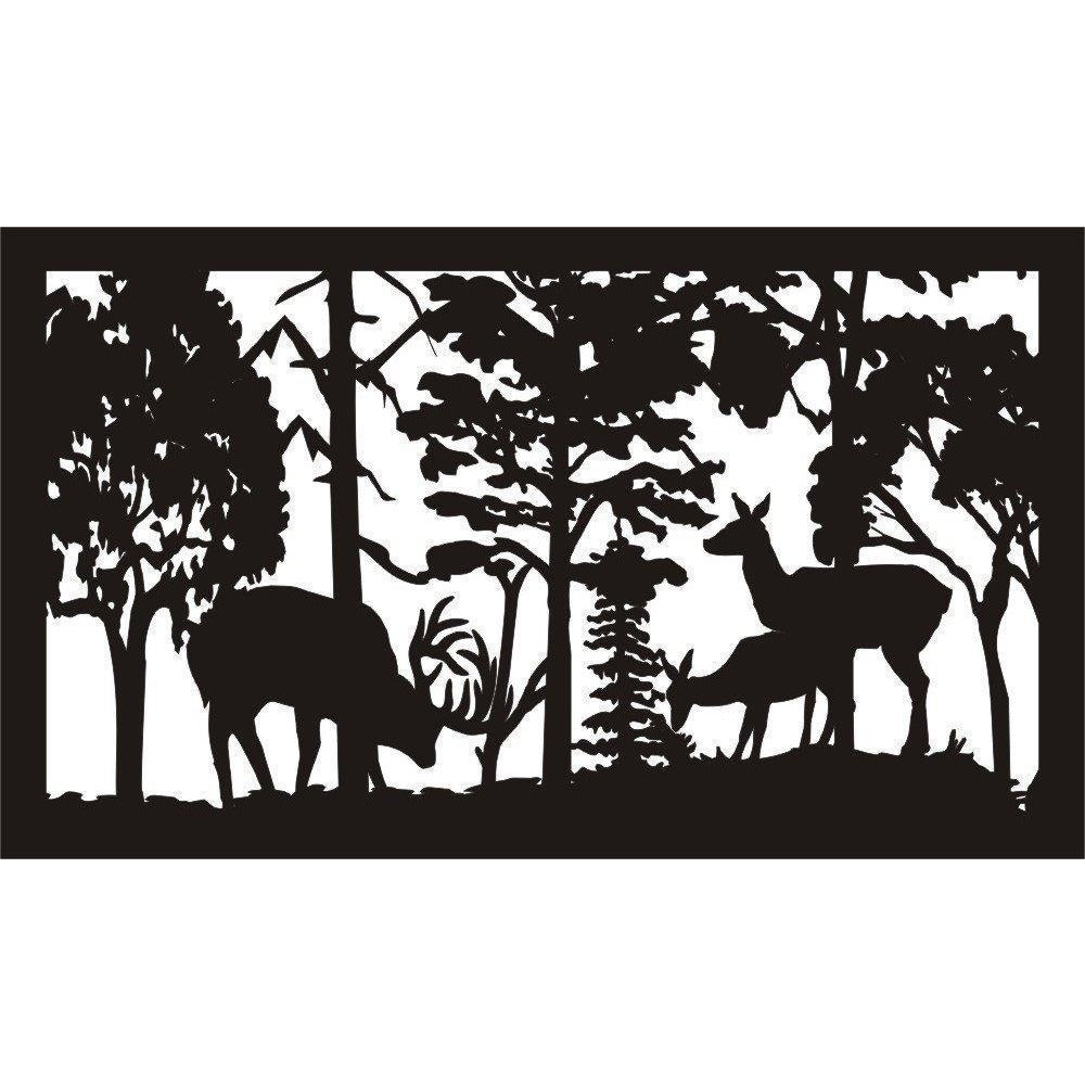 24 X 48 Buck Deer Rubbing Tree Doe and Fawn watch - AJD Designs Homestore