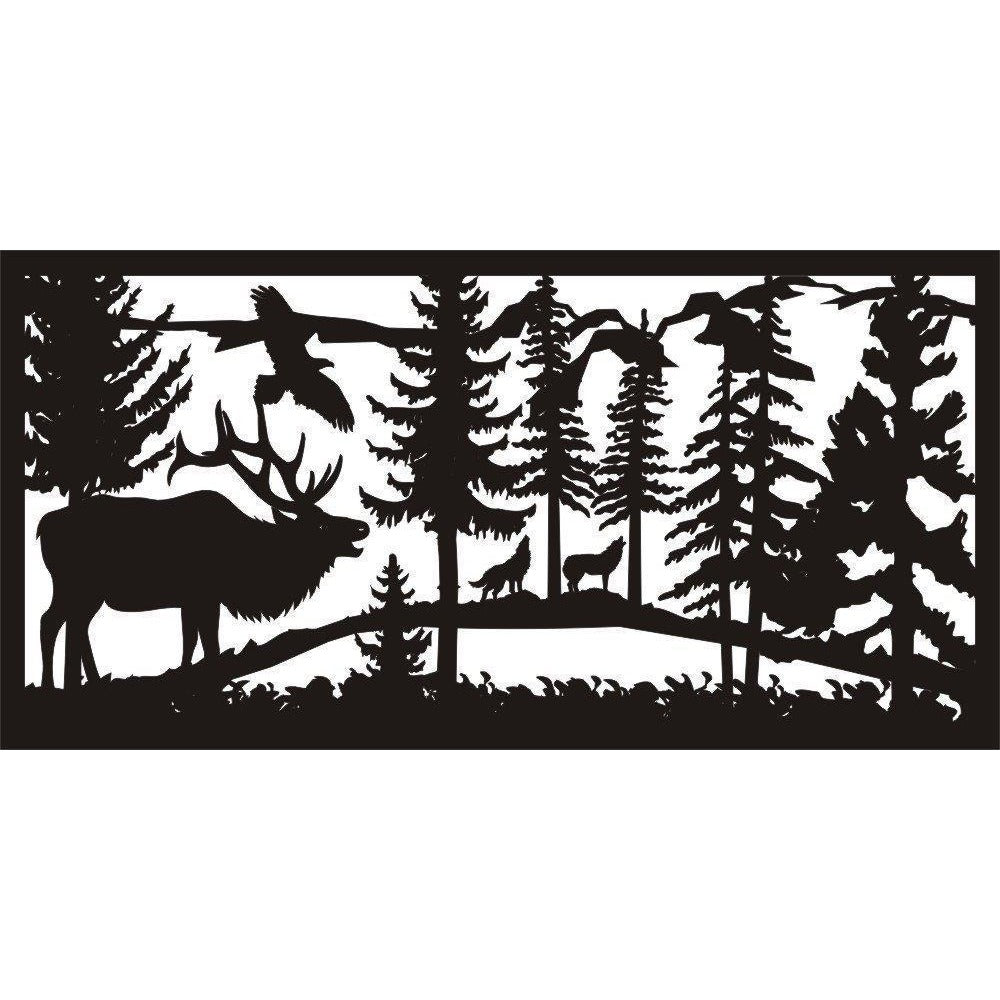24 x 48 Elk Eagle Wolves - AJD Designs Homestore