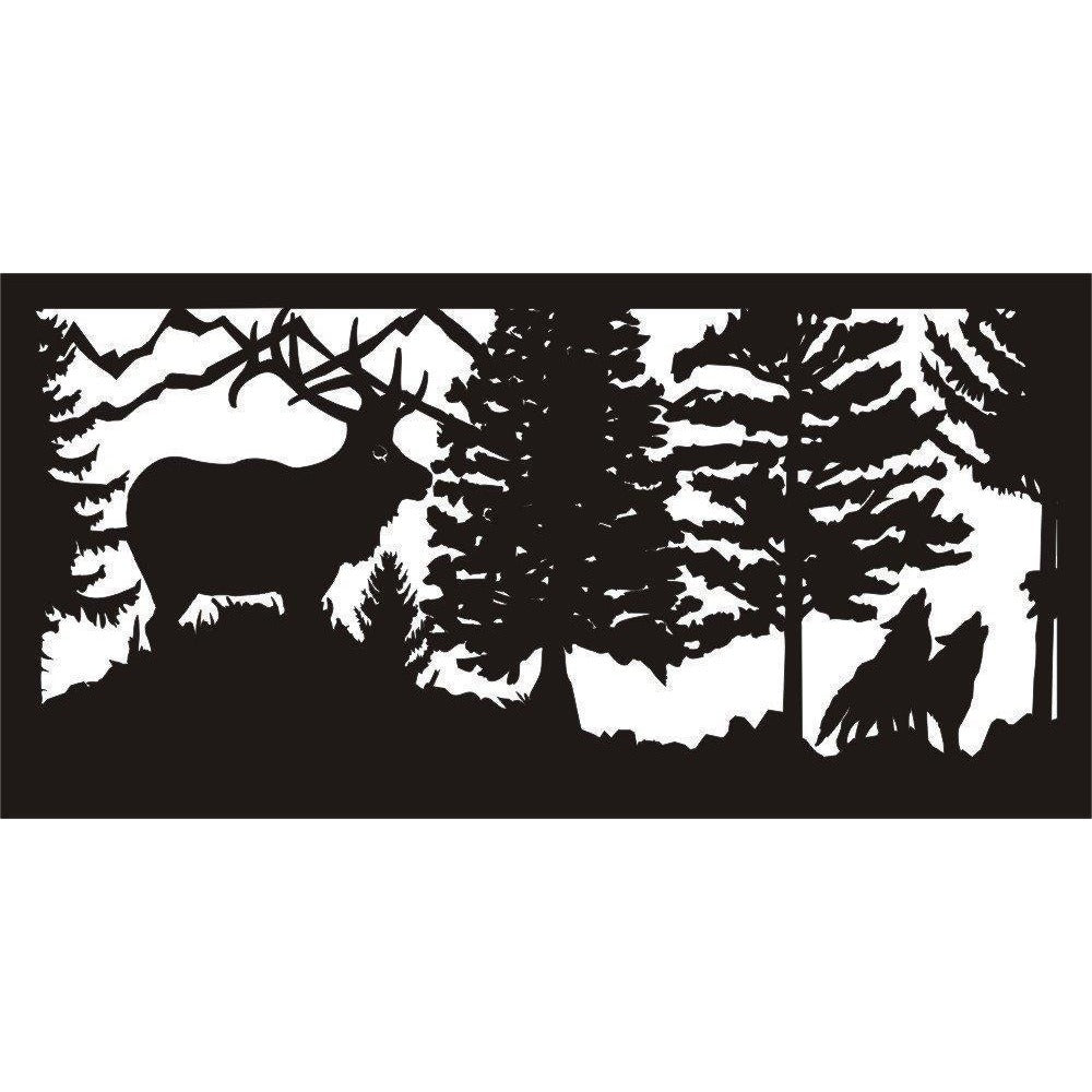 24 X 48 Elk Standing On Ridge Watching Two Wolves - AJD Designs Homestore