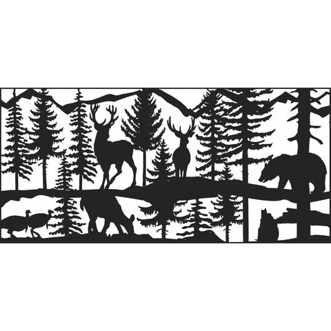 24 X 48 Two turkeys two bucks a doe and a bear around a lake - AJD Designs Homestore
