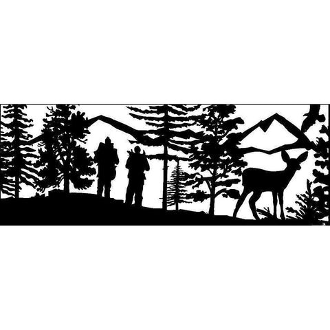 24 x 60 Two Cross Country Skiers with Eagle and Doe - AJD Designs Homestore