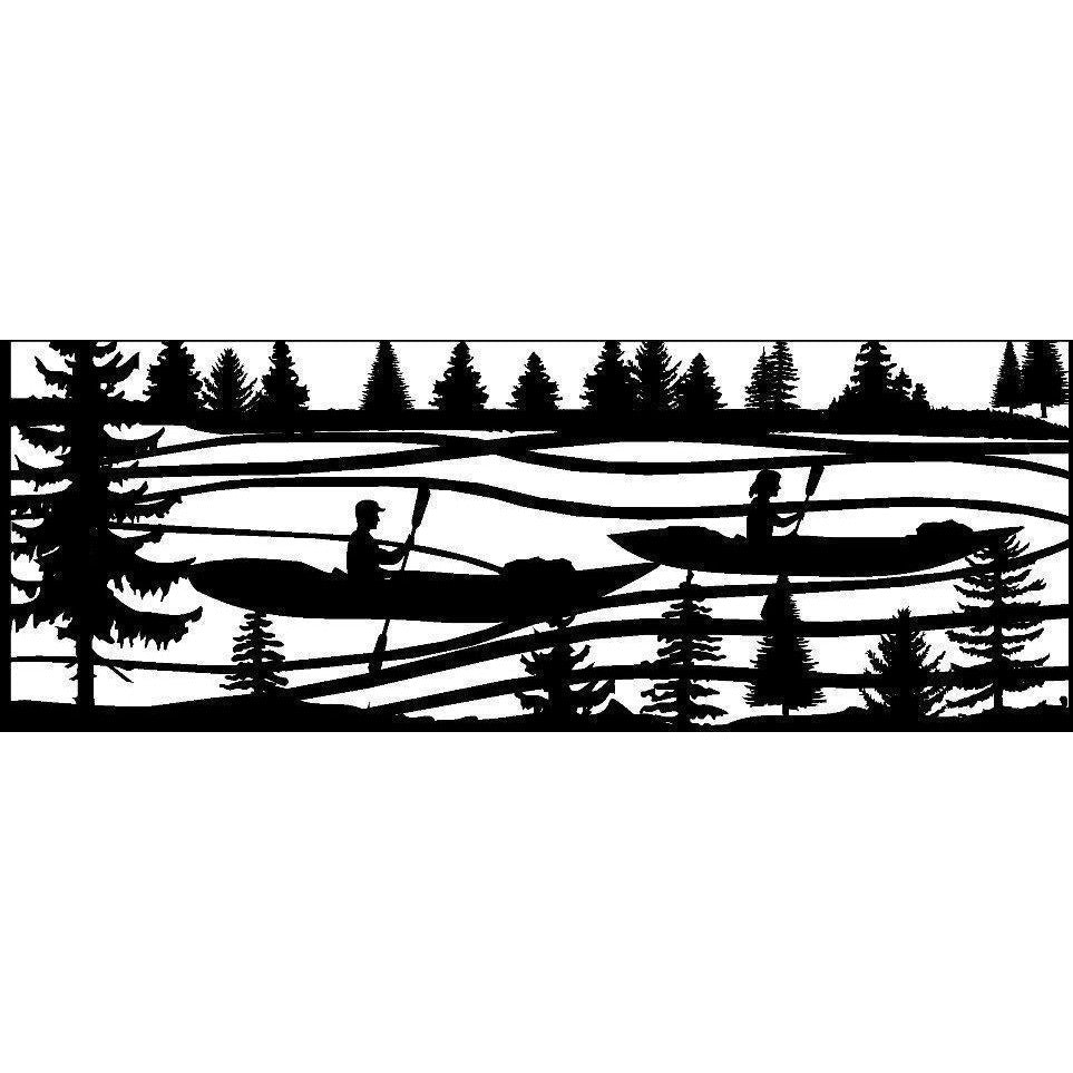 24 x 60 Two Kayakers River Mountains - AJD Designs Homestore