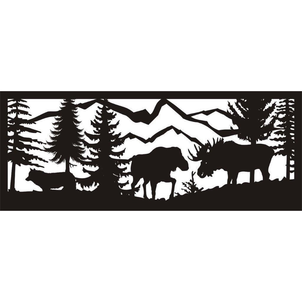 24 x 60 Bull and Cow Moose Wolf Meadow and Mountains - AJD Designs Homestore