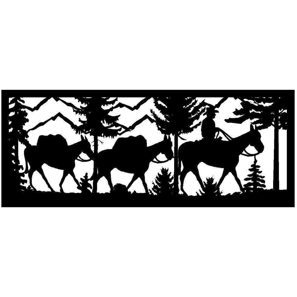 24 X 60 Hunter With two Pack Mules and Mountains - AJD Designs Homestore