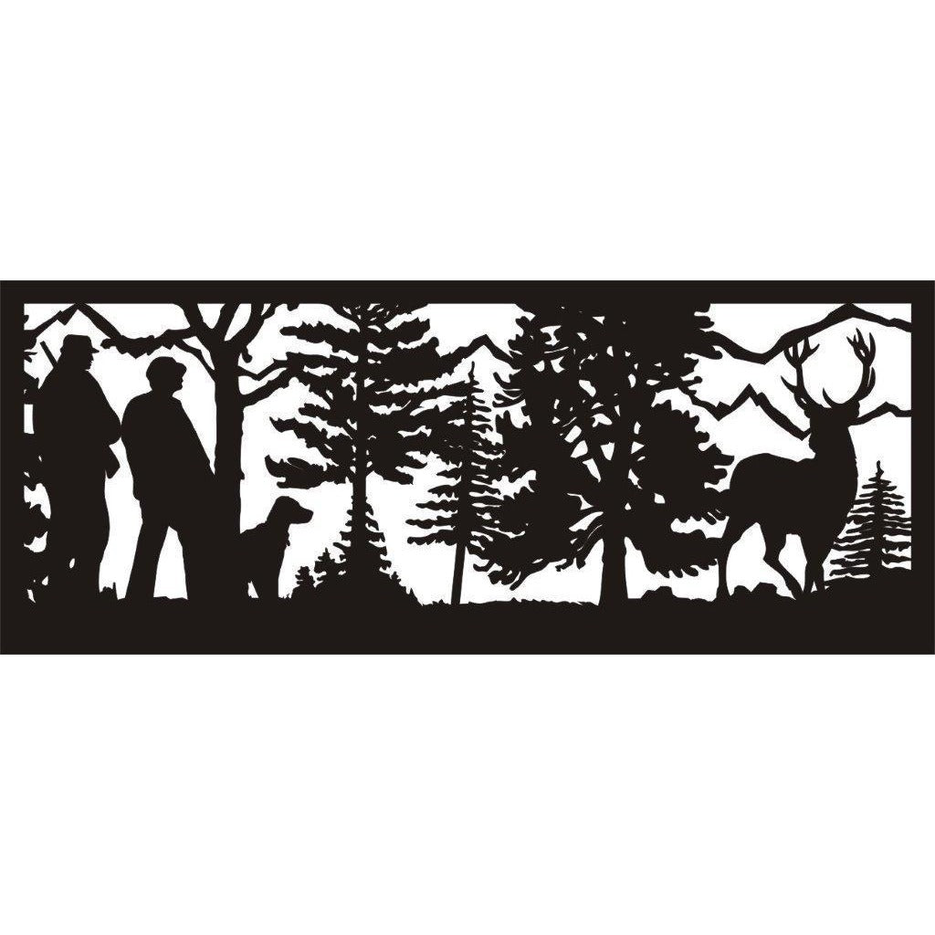 24 X 60 Two Hunters a Dog Buck Deer and Mountains - AJD Designs Homestore
