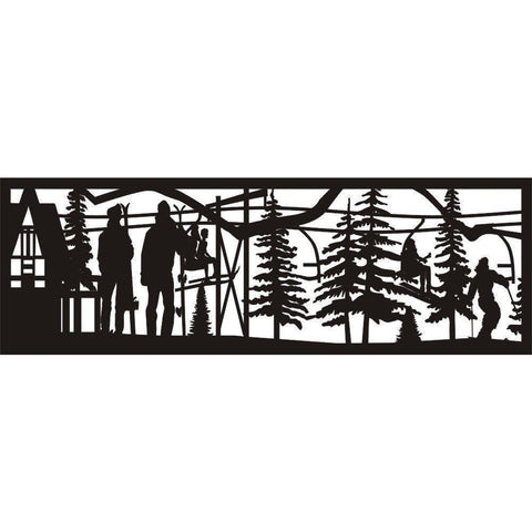 24 x 72 Ski Lodge Skiers Ski Lift - AJD Designs Homestore